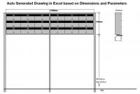 Work sample of drawing generated in Excel based on input parameters
